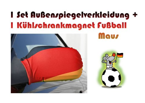 Trendfinding 2er Set Auto Fußball Spiegelflagge Spiegelfahne Spiegel Deutschland Deutschlandfahne Außenspiegel Autospiegel Autospiegelflagge Fahne Flagge
