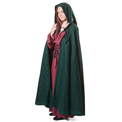 Mittelalter Umhang Damen mit Kapuze und Stickerei Wolle grün - 2
