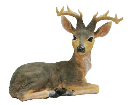 HomeView Design Bucking Lying Outdoor Statue, Natural Realistic Color