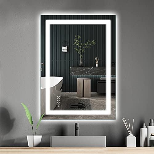 Amorho 60x80cm Rectangular Espejo Baño Espejo de Pared Espejo Colgante Dormitorio Función Antivaho con Luz LED Interruptor Táctil 4 Temperatura de Color Ajustable