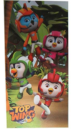 Halantex - TW191070-R – Top Wings 4 personajes de la jungla, toalla de playa, baño original oficial – Multicolor – 70 x 140 cm