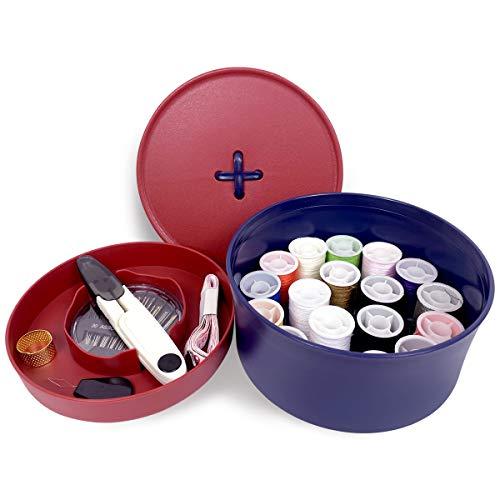 RANLOVE Kit de costura, caja de traje de costura para el hogar, ropa de emergencia llena y viaje con accesorios completos, suministros de costura de bricolaje con para principiantes (rojo y azul)