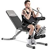 Merax Utility Weight Bench with Leg Extension for Full Body Workout, 550LBS Weightlifting and...