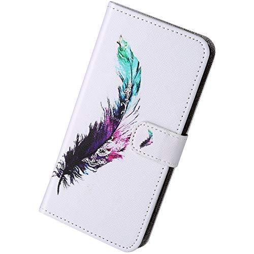 Herbests Kompatibel mit Samsung Galaxy A21 Handyhülle Brieftasche Hülle Bunt Motiv Muster Leder Schutzhülle Flip Case Handytasche Lederhülle Klapphülle Magnetisch Kartenfach,Feder