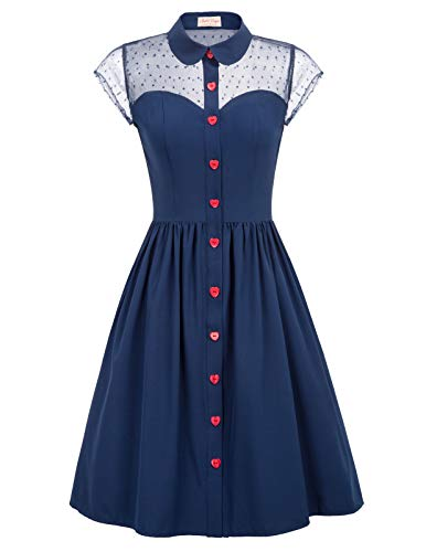 A-Linien Cocktailkleid Elegant Spitzenkleid Vintag Retro Kleid 1950er Abendkleid Navyblau BP927-2_L