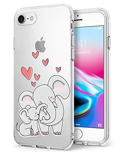 Caler - Carcasa compatible / repuesto para iPhone 7, transparente, fina, ultrasuave, TPU, protección antigolpes, tapa de elefante de gato Koala (6)