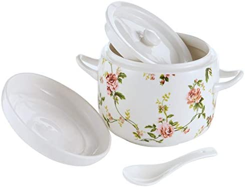 Small Ceramic Stew Pot with Lid Premium Steam Soup Bowl Steaming Cup for Home Kitchen Egg Custard product image