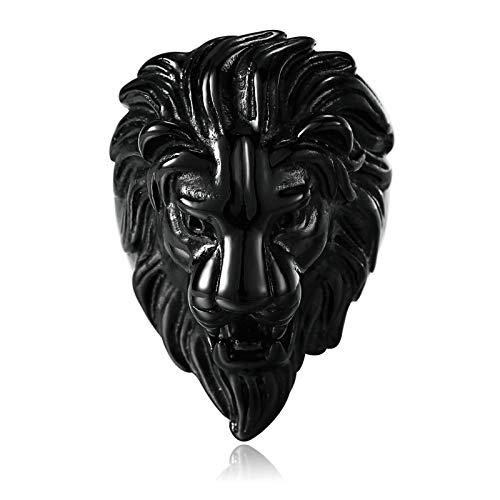 Daesar Anillo Hombre,Anillo Cabeza de León Anillo Acero Inoxidable Hombre Negro Anillo Talla 22