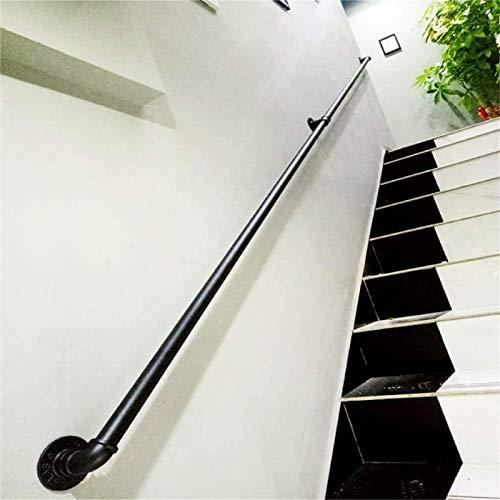 KEOA Industrial Seguridad Pasamanos Escalera Pasamanos Escaleras Antideslizante Barra de Apoyo Balaustrada Hierro Forjado Pared a Pared-14ft/420cm