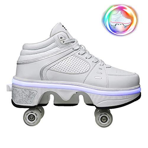 DHTOMC Scarpe con Rotelle Pattini A Rotelle Retrattile Retrattile 4 Ruote LED Skateboard Sneakers...