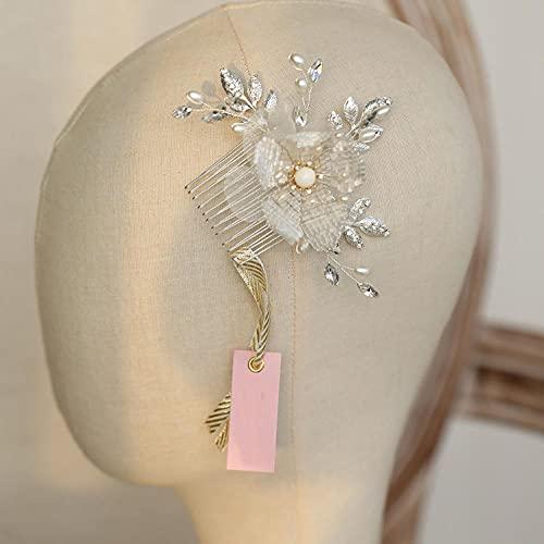 Joyas para el pelo para boda, color dorado y plateado, perlas y...