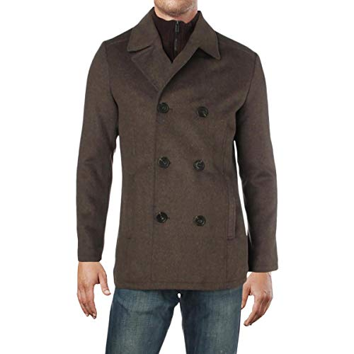 Kenneth Cole REACTION Mens Winter Wool Blend Pea Coat Brown S