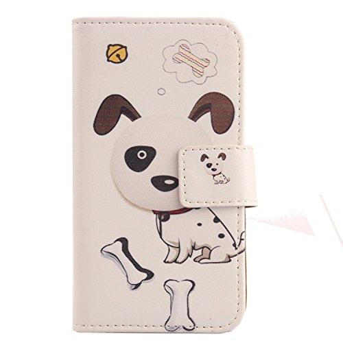 Lankashi PU Flip Stand Leder Tasche Hülle Hülle Cover Wallet Schutz Handy Etui Skin Für Archos Access 50 Color 3G (Dog Design)