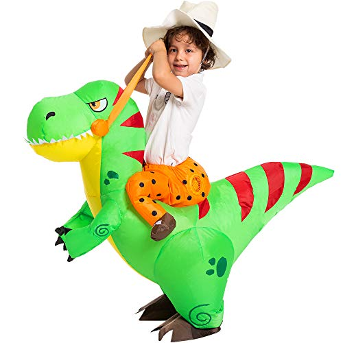 Spooktacular Creations Costume gonfiabile Costume di Halloween Deluxe a cavallo di un T-Rex gonfiabile - Bambino/Adulto