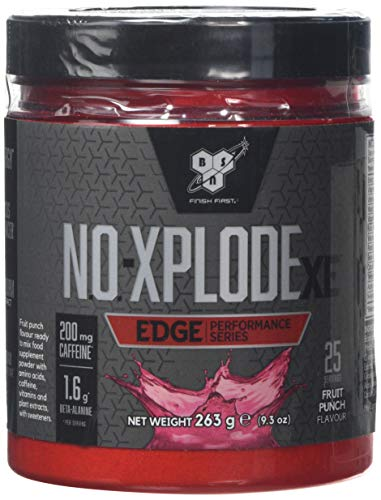 BSN N.O.-XPLODE XE Pre Workout Performance Supplement with Beta Alanine, Vitamin B12 and Caffeine by BSN - Fruit Punch, 25 Servings, 263g
