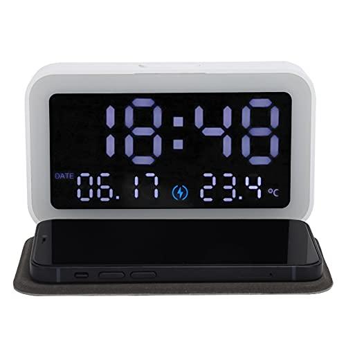 TANKE Reloj electrónico - Reloj electrónico LED Digital 6 en 1, luz Nocturna Multifuncional, Cargador inalámbrico, termómetro, Negro