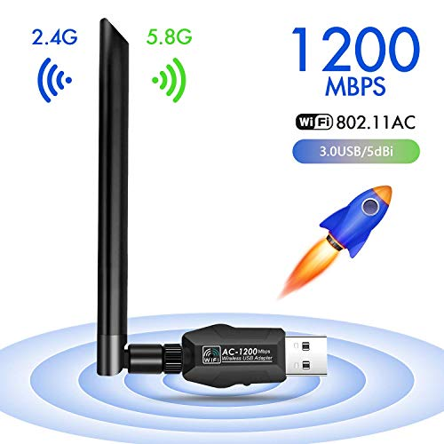 JamBer WLAN Stick,USB WiFi Adapter Dualband 1200Mbit/s(5ghz+2.4ghz) WLAN Dongle,5dBi WLAN Antenna/WLAN Adapter USB 3.0/Wireless Adapter für Windows 10/MAC OS/Linux/PC/Desktop/Notebook