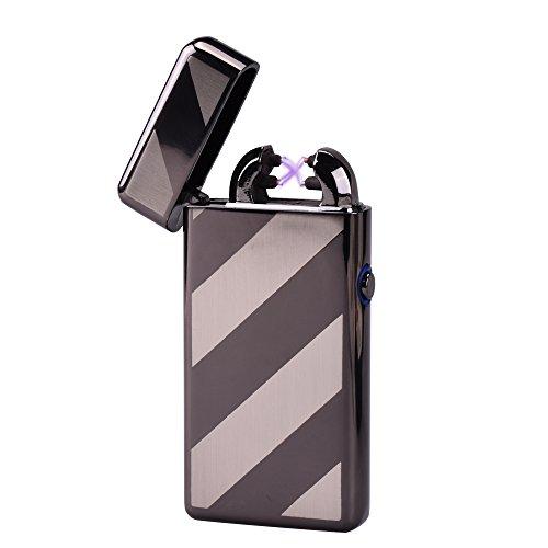 CHAOBEITE USB Elektronisches Feuerzeug Dual Lichtbogen Aufladbar Winddicht (Schwarzer Streifen) Schwarzer Streifen