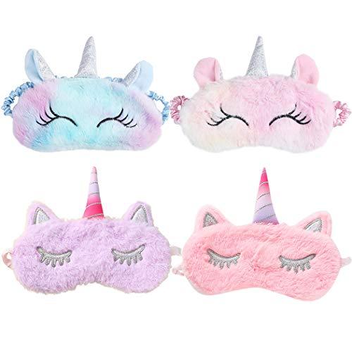 ZOYLINK 4PCS Schlafmaske Kinder Flauschig Schlafmaske Süße Schlafmaske Lustige Augenmaske Geeignet für Kinder Erwachsene Damen Nickerchen Reisemeditation