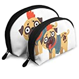 Funny Pug Dog Character in A Punk Rocker Costume Travel Portable Cosmetic Bags Organizer Set of 2 Women Teens Girls