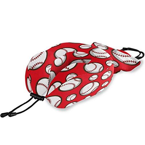QMIN Reisekissen Sport Ball Baseball Muster Memory Foam Nackenkissen Unterstützung U-Form Kissen ergonomisches Nackenkissen Reisekit für Langstreckenflugzeuge Auto Zug