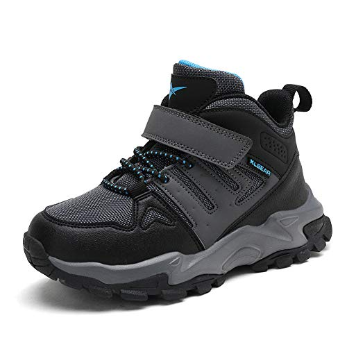 kulebear Kids Hiking Shoes Non Slip Boots Boys Girls Winter Boots Outdoor Warm Shoes Waterproof GreyBlue2 2 Little Kid