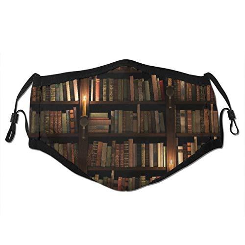 Libri Biblioteca Vintage Sullo Scaffale Retrò Con Candele Scaffale Ordinato,Filtro riutilizzabile lavabile e viso paradenti riutilizzabile