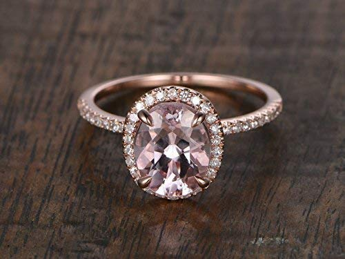 Amazon Com Peach Pink Morganite Engagement Ring Diamond Halo 6x8mm Oval Cut Solid 14k Rose Gold Thin Pave Wedding Band Half Eternity Minimalist Anniversary Gift Promise Bridal Set Women Birthstone Handmade