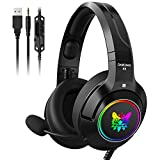 ONIKUMA Gaming Headset for PS4, Xbox One (Adapter Not Included), Nintendo Switch, PC, with Surround Sound, RGB LED Light & Noise Canceling Retractable Microphone (Purple)