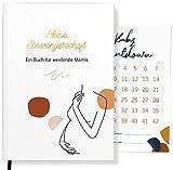 Meine Schwangerschaft ein Buch für werdende Mamis | Schwangerschaftstagebuch für Erinnerungen | Geschenk für Schwangere + Baby-Countdown Karte (Modern Line-Art)