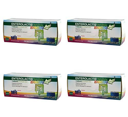 4x Enterolactis Bevibile Bambini Integratore Alimentare 48 Flaconi