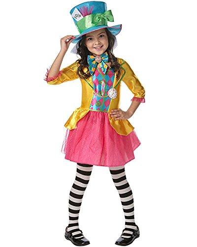 Rubie's Offizielles Mädchen Disney Alice im Wunderland Verrückter Hutmacher Kostüm–Größe L–9–10Jahre