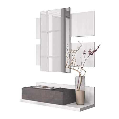 Habitdesign - Recibidor con cajón + Espejo Tekkan, Medidas: 75 x 116 x 29 cm de Fondo (Blanco Artik y Oxido)