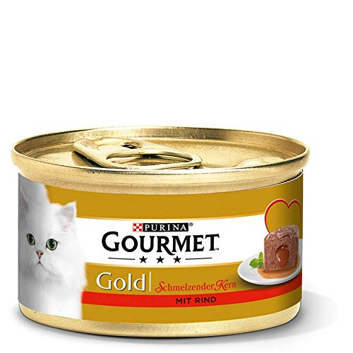 PURINA GOURMET Gold Schmelzender Kern Katzenfutter nass, mit Rind, 12er Pack (12 x 85g)