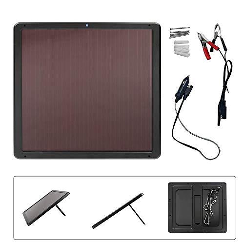 ECO-WORTHY Wasserdichtes 7W 12V Solarbatterieladegerät Trickle Maintainer Kits System mit Batterieclip für Autobatterie und amorphes Silikonsolarmodul für Mobiltelefone