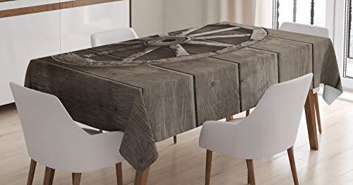 ABAKUHAUS Vagnshjul Bordsduk, gamla Transport, rektangulärt bordsskydd för matsal köksdekor, 140 cm x 240 cm, Umbra