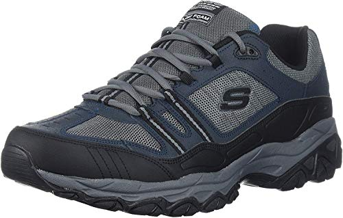 Skechers mens Afterburn Strike Memory Foam Lace-up fashion sneakers, Navy/Gray, 12 X-Wide US