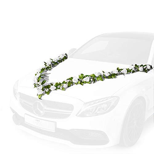 Fairytale Wedding © Autoschmuck Hochzeit mit 24 wunderschönen Seidenblumen - 2 X 180cm Hochzeitsdeko Auto inkl. 4 Autoschleifen für Türgriffe - Autodeko Hochzeit mit 12 extrastarken Saugnäpfen