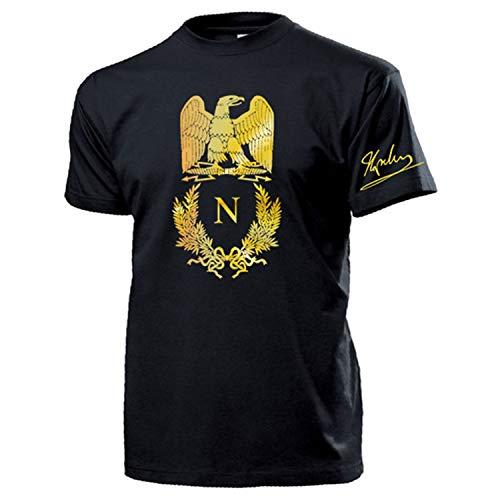 Napoleon Bonaparte Wappen Adler Gold Unterschrift Abzeichen Logo T Shirt #16995, Größe:M, Farbe:Schwarz