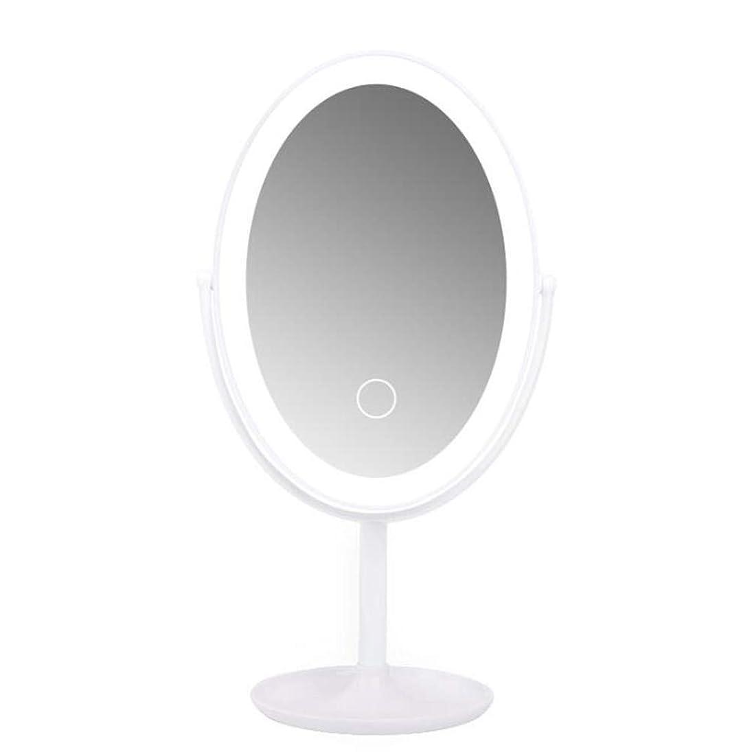 シーボードジャンクション若さ卓上化粧鏡、360°スタンド付きスタンド式自立台化粧鏡、回転式ポータブルUSB充電ランプ付きスマートLED化粧鏡 (Color : White)