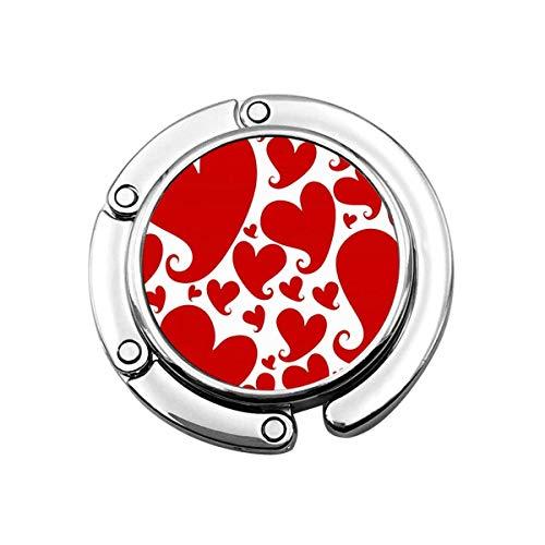 Gancho de monedero para la mesa, corazones rojos portátil bolsa percha bolsos clips para mujeres titular almacenamiento plegable escritorio organizador almacenamiento