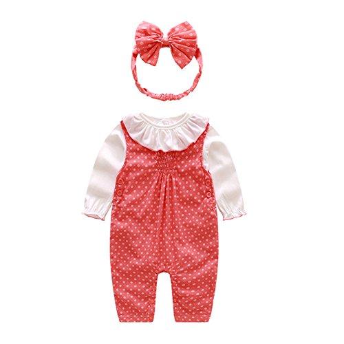 Mornyray Daisy Printemps Mignon Bébé Fille À Manches Longues Vêtements Petit Floral Strap Set + Bandeau size 85 (red)