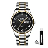 BOSCK Analog Mens Watch,Stainless Steel Waterproof Wrist Watch for Men,Auto Date and Day Watch (Gold-Black)