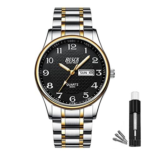 BOSCK Reloj analógico para hombreReloj de Pulsera de Moda Impermeable de Acero Inoxidable para Hombres Reloj empresarial de Cuarzo con Fecha y día automáticos, (Gold-Black)