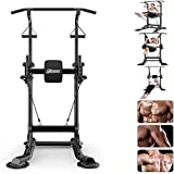Power Tower Pull Up Station Dip Station Chin Up Bar Pull Push Home Gym Fitness Equipment Strength Training Workout Exercise Workout Rack (Black)