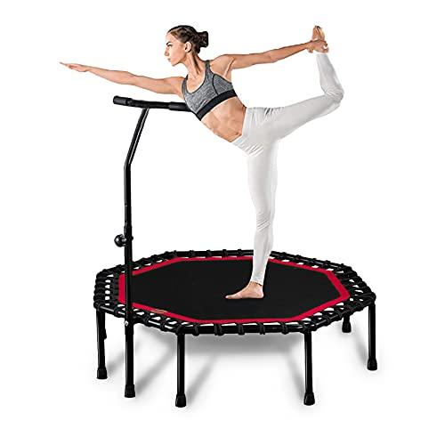 NCBH Trampolín de fitness, mini trampolín de 51 pulgadas, rebote de fitness con 4 niveles de mango ajustable para niños adultos interior/exterior ejercicio corporal, carga máxima 150 kg, rojo
