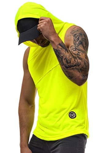 MOODOZ Herren Tank Top Tanktop Kapuze Tankshirt Ärmellos Bodybuilding Shirt Unterhemd T-Shirt Tshirt Tee Muskelshirt Achselshirt Trägershirt Ärmellose Training O/02538X GELB-NEON M