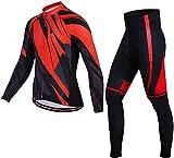 CLQ Jersey de Ciclismo para Hombre Invierno cálido de Manga Larga Traje de vellón de Ciclismo Jersey Transpirable y pantalón con Baberos para Hombre Deportes de Ciclismo al Aire Libre-Rojo_X-pequeño