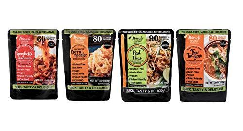 Miracle Noodle Ready to Eat Meals Variety Pack, Pad Thai, Japanese Curry, Vegan Spaghetti Marinara, Thai Thom Yum, Shirataki Noodles, Pasta Alternative, Gluten Free, Paleo Friendly, 10oz (Pack of 4)