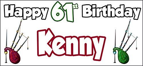 Póster personalizable de Bagpipes Escocia Feliz 61 cumpleaños – Póster – Decoración...